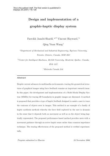 Design and implementation of a graphic-haptic display system