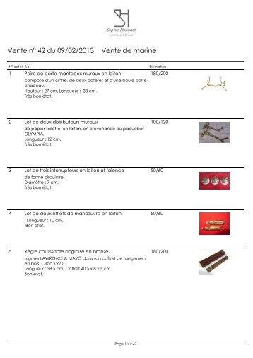 Vente n° 42 du 09/02/2013 Vente de marine - SH encheres