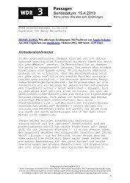 Sendung, Sendedatum - WDR 3
