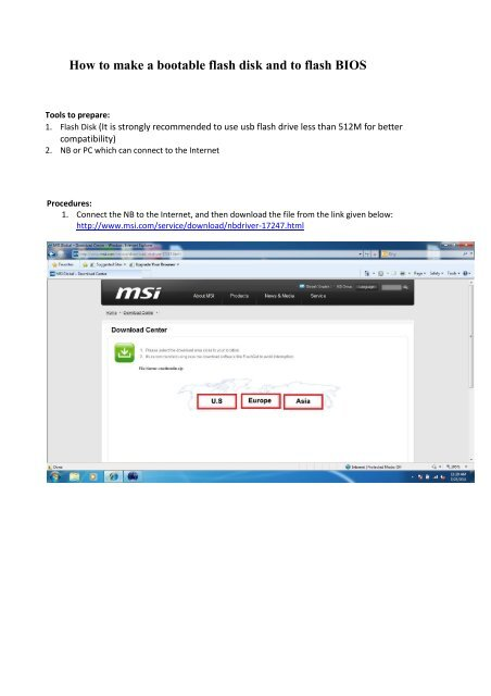How to make a bootable flash disk and to flash BIOS - MSI