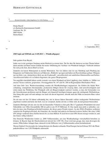 Lesen Sie hier den Brief von Hermann Gottschalk an ... - Vernunftkraft