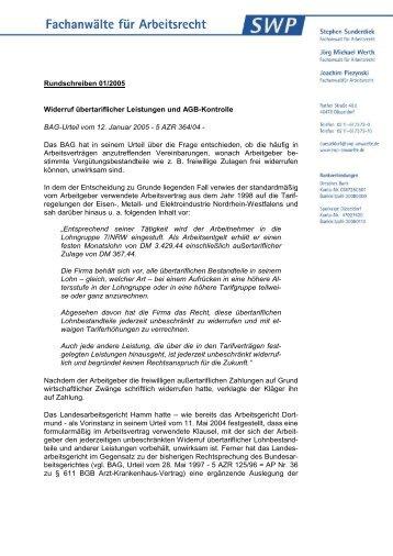 Rundschreiben 01/2005 Widerruf übertariflicher Leistungen und ...