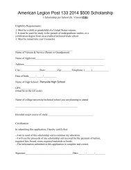 American Legion Post 133 2008 $500 Scholarship