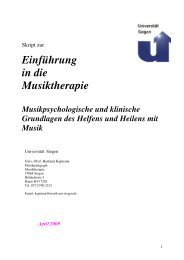 Skript zur Vorlesung. 2009 - Musiktherapeutische Zusatzausbildung ...