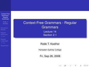 Context-Free Grammars - Regular Grammars - Hampden-Sydney ...