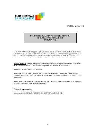Compte-rendu analytique du bureau du 05/06/2013