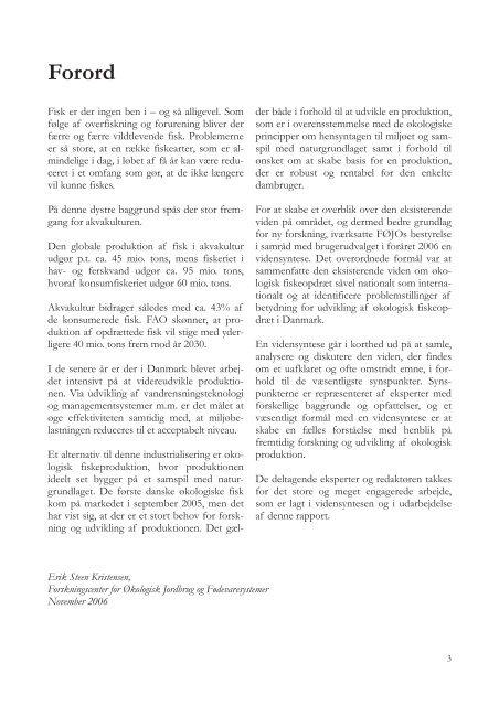 Økologisk fiskeopdræt - ICROFS
