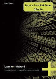 Pension Fund Risk Model (dBALM) - Barrie & Hibbert