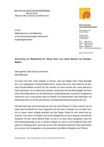 deutsche bischofskonferenz - Katholisches Auslandssekretariat