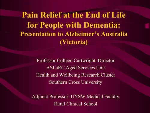 Pain Relief at the End of Life for People with Dementia - Alzheimer's ...