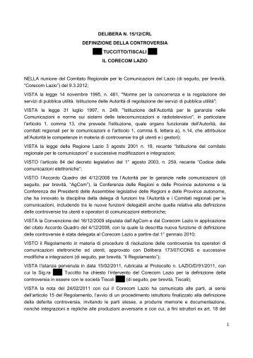 Delibera 15/12/CRL - Corecom Lazio