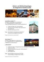 Advent- und Weihnachtspackages der Klagenfurter Hotellerie 2010