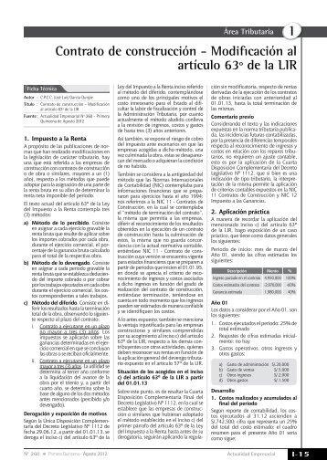 I Contrato de construcción - Modificación al artículo 63º de la LIR