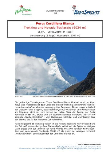 Peru: Cordillera Blanca Trekking und Nevado ... - Naturfreunde