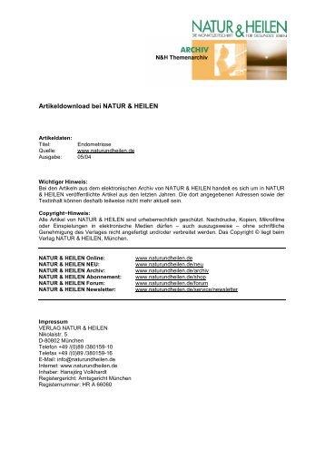 können - Natur & Heilen, Monatszeitschrift für naturgemäßes Leben ...