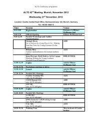 Draft Programme – ALTE Meeting, Maynooth, November 2009