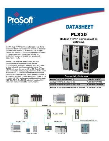 PLX30 Modbus TCP/IP Datasheet - ProSoft Technology