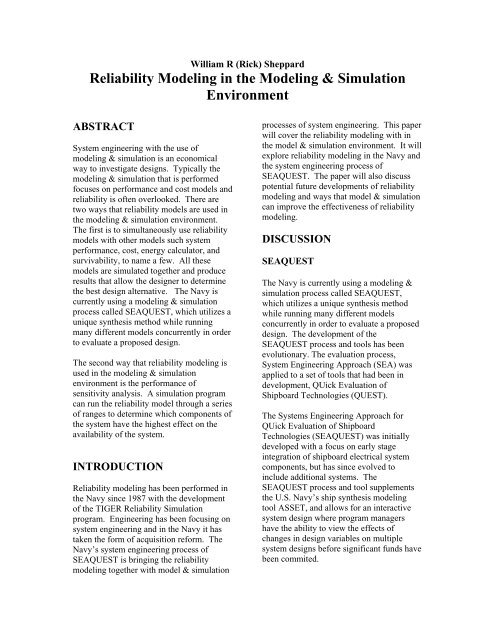 Reliability Modeling In The Modeling Simulation Environment Asne