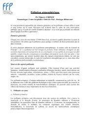 Pollution atmosphérique - Fédération Française de Pneumologie