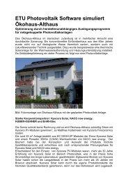 ETU Photovoltaik Software simuliert Ökohaus ... - Energieausweis