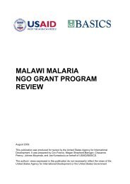 Malawi Malaria NGO Grant Program Review - basics
