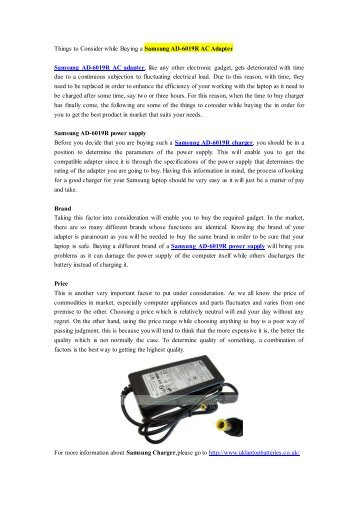 Things to Consider while Buying a Samsung AD-6019R AC Adapter.pdf