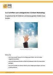 In 5 Schritten zum erfolgreichen Content Marketing - PR-Gateway