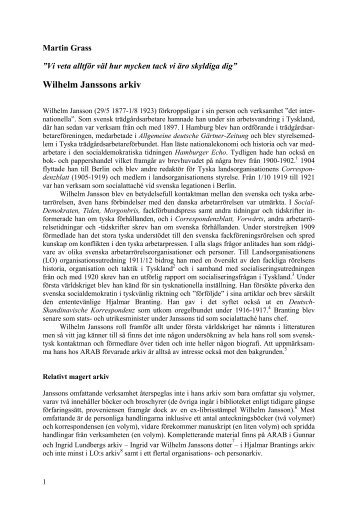 Wilhelm Janssons arkiv (Världen i källaren)