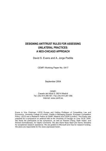 designing antitrust rules for assessing unilateral practices: a ... - Cemfi