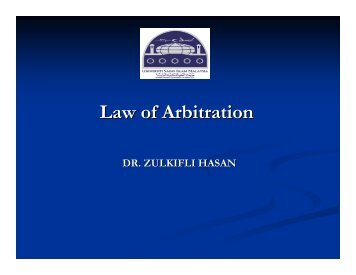 Arbitration in Islamic Law
