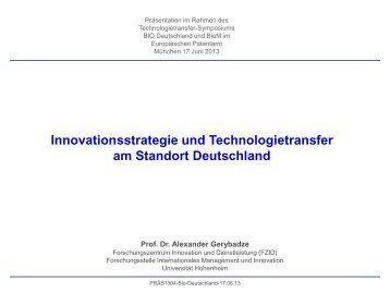Vortrag von Prof. Dr. Alexander Gerybadze - BIO Deutschland