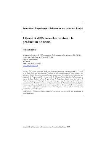Voir le texte complet - AREF 2007
