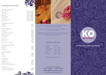 Ko Spa & Beauty Brochure - Kilkenny Ormonde Hotel