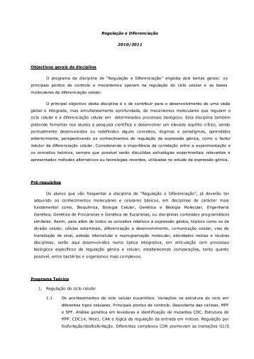 Regulação e Diferencia - Biologia Molecular e Genética