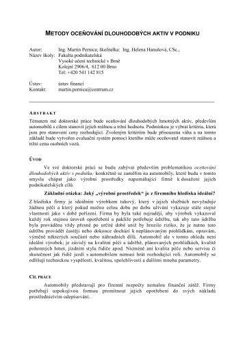 metody oceňování dlouhodobých aktiv v podniku - Konference.fbm ...