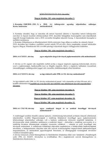 Közlönyfigyelés 2010 - Kormanyhivatal.hu