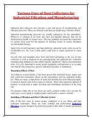 Various Uses of Dust Collectors for Industrial Filtration and Manufacturing