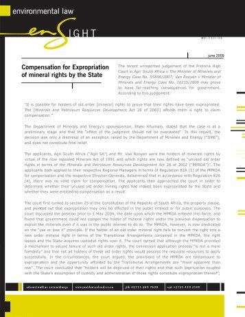 Compensation for Expropriation of mineral rights by the State