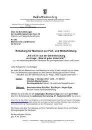 Einladung für Mentoren zur Fort- und Weiterbildung - Staatliches ...
