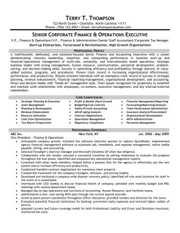 Finance & Operations - Front Runner Resume Writing