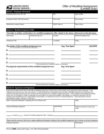 PS Form 2499 - branch 38