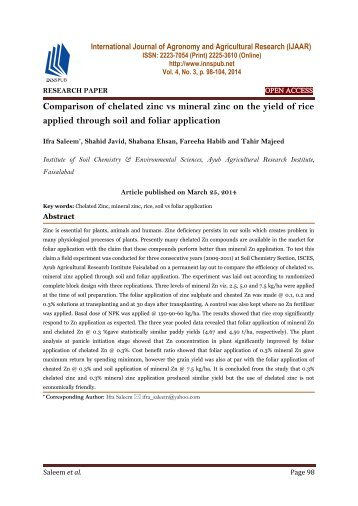 Comparison of chelated zinc vs mineral zinc on the yield of rice applied through soil and foliar application