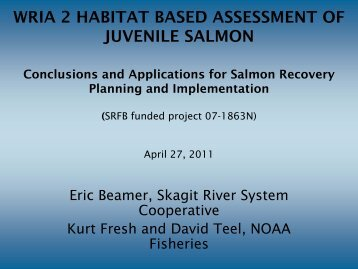 WRIA 2 HABITAT BASED ASSESSMENT OF JUVENILE SALMON