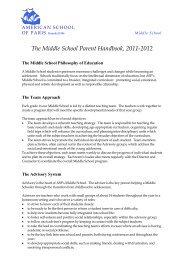 The Middle School Parent Handbook, 2011-2012 - American School ...