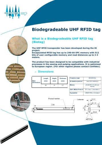 Biodegradeable UHF RFID tag - Indisputable Key