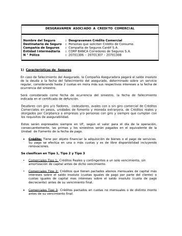 SEGUROS ASOCIADOS A CREDITO DE CONSUMO - Corpbanca