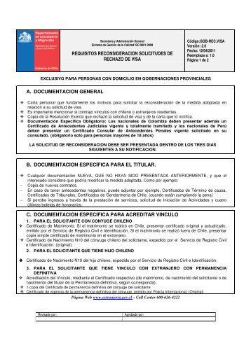 requisitos reconsideracion solicitudes de rechazo de visa a ...