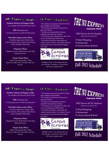 NU Express Fall 2012 Schedule - Niagara University
