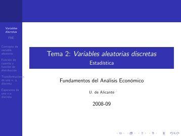 Tema 2: Variables aleatorias discretas