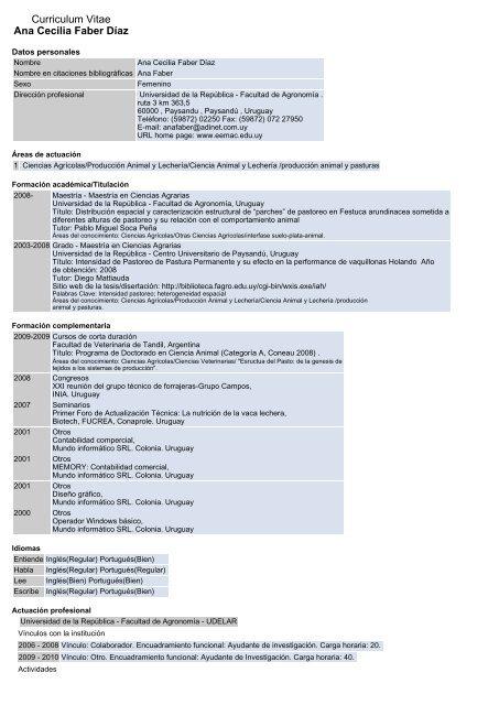 Curriculum Vitae Ana Cecilia Faber Daaz Departamento De